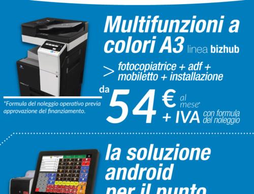 PROMO e NOVITÀ: Multifunzione a Colori da 54€+ IVA al mese | Punto Cassa con Android